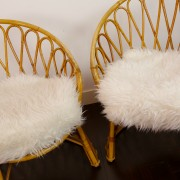fauteuil vintage en osier 1958