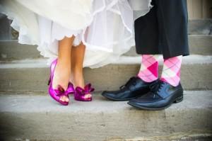 chaussure de couleur-mariage vintage