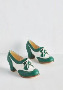 escapins richelieu vert-mariage vintage