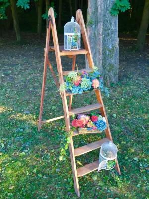mariage vintage-escabeau en bois